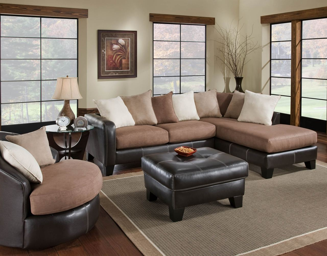 Ava Furniture Houston Cheap Discount Living Room Set 360 MOCHA 2 Pc Sectio