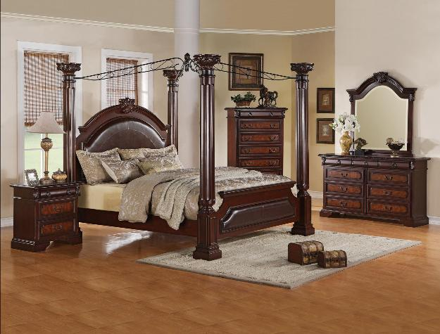 Establish a sophisticated master suite with the distinguished and elegant designs of this queen canopy bedroom set. A warm brown finish is beautifully ... & Ava Furniture Houston - Cheap Discount Canopy Bedrooms Furniture ...